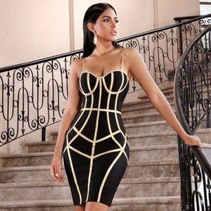 🎥 Bandage Contrast Trim Slim Dress in Black